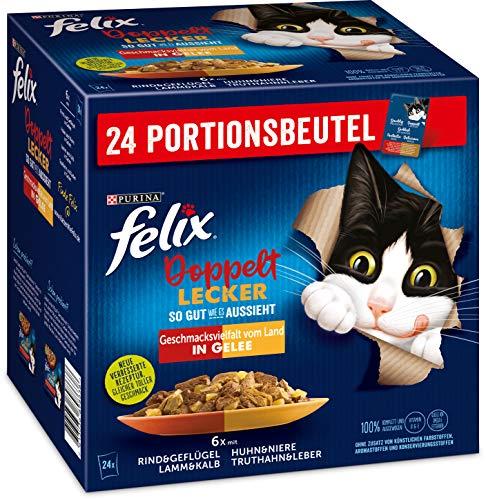 Felix Katzennassfutter So gut wie es aussieht Doppelt Lecker Vielfalt in Gelee vom Land, 4er Pack (4 x 24 x 85g) Portionsbeutel