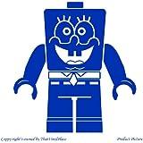 Lego, Legos, figura de Lego, Lego Fihures, Lego personas, personas, juegos de Lego, nombre personalizado, nombre personalizado Sticher, nombre Stichers, articulado, Lego Minifigure, Bob Esponja (19 cm x 20 cm) color azul baño, infantil, niños de la sala de pegatinas, vinilo del coche, las ventanas y pared, pared ventanas arte, etiquetas, adorno adhesivo de vinilo ThatVinylPlace