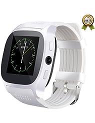 SHAOLIN Bluetooth Smart Uhr Watch mit SIM Kartenslot Schrittz?hler Schlafanalyse Kalorienz?hler SMS Anrufe Reminder Facebook Handy-Uhr f¨¹r Android & Iphone Smartphones(White)