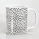 ZIQIZIYU Schwarze und weiße Flecken der düsteren Tupfer-Tupfer-Tierflecken entwerfen minimal 325 ml Kaffeetasse