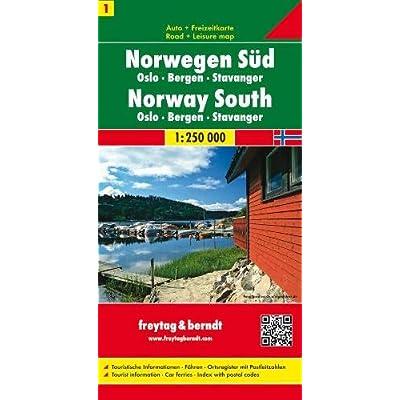 Norvegia Sud-Oslo-Bergen-Stava: Toeristische Wegenkaart 1:250 000