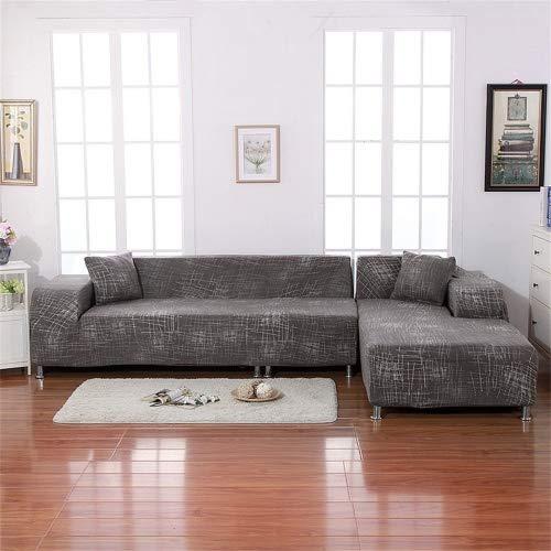 Eleoption, copridivano elasticizzato in fibra morbida antiscivolo di poliestere ed elastan, si adatta alla forma del divano, Coffee, for L Shape Sofa
