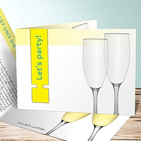 Weihnachtsfeier Einladungen, Sektglas 175 Karten, Horizontale Klappkarte 148x105 inkl. weiße Umschläge, Gelb