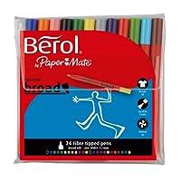 Berol Colour Broad Fibre Tipped Pen, Assorted Colours, Pack of 24