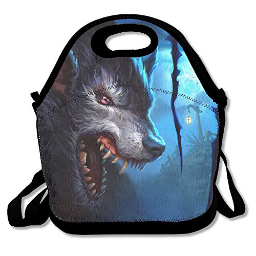 d2c8d92b3299 Fierce Wolf Moon Portable Lunch Box Bag Insulated Waterproof School Storage  Handbag for Women, Adults, Kids
