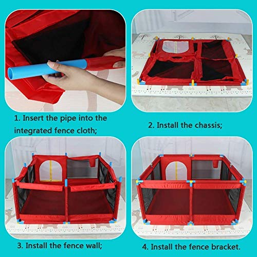Playpens Extra Large Baby Play Yard with Basketball Hoop and Balls, Toddler/Kid's Portable Playard Children's Game Fence, Red  HWF Shop