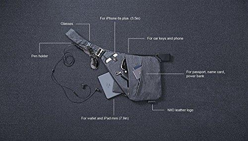 NIID-FINO Borsa a Tracolla Slim Zaino Multi Purpose Daywear per Uomini d'università Uomo Escursioni in Bicicletta Escursionismo Adatto a iPad mini 7,9 pollici (mano sinistra, Rosso) Grigio, Mano Destra