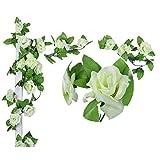 OUTEYE 2.4m romantisch Rose Blume Reben Girlande Simulation Kunstblumen Dekoration Künstliche Blumen Deko für Home Zimmer Garten Wand Fenster 9pcs Rose