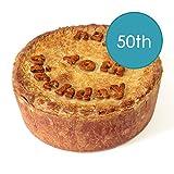Hartland Pies 25cm (10 inch) Pork Pie Happy Birthday Personalised Cake Gift Present -50th