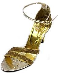 W & W Mujeres Ladies Diamante Boda Novia Fiesta Noche Moda sandalias tamaño 4–10(Tina)