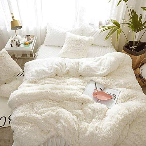 YANNI Faux Pelz Reversible Bettbezug, Winter Flauschige Plüsch Dick Wärme Allergiker-geeignet Quilt-Abdeckung Mit Reißverschluss Ecke Krawatten-weiß 220x240cm(87x94inch) -