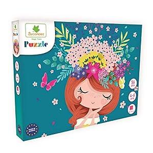 DARPEJE- Flores-54 Piezas de Puzzles-Sycomore Faujas (PUZ003), (1)