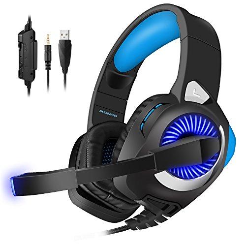 PHOINKAS Gaming Headset für ps4 pc, Xbox One Gaming Kopfhörer, Stereo Gaming Headset mit Mikrofon für PC, Nintendo Switch, Blau