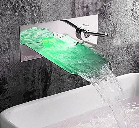 UHM Cascade en laiton carré Froid Chaud lave baignoire lavabo Robinet mélangeur Robinet à montage mural