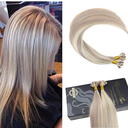 Ugeat 50g Dip Dyed Piano Ash Brown to Bleach Blonde Extensiones de Cabello Humano 55cm Ombre Brazilian Keratin Extensions de Pelo Color # P18/613