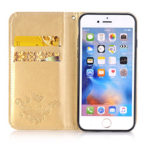 EKINHUI Case Cover Rose Blumen geprägtes Muster Premium PU Leder Geldbörse Fall, Folio Flip Stand Case Cover mit Halter & Card Slots & Magnetverschluss für iPhone 6 & 6s ( Color : Red ) Gold