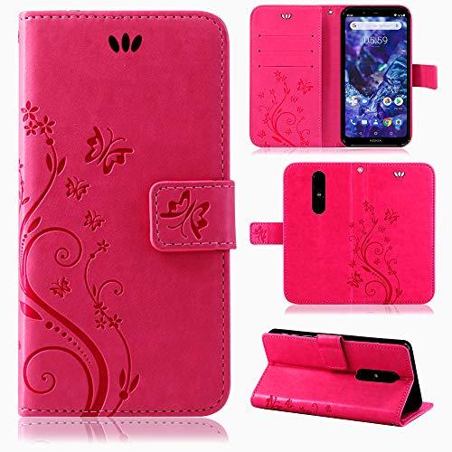 betterfon | Flower Case Handytasche Schutzhülle Blumen Klapptasche Handyhülle Handy Schale für Nokia 5.1 Plus Pink