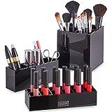 Beautify Lot de 3 Rangements pour Maquillage (rouges à lèvres, pinceaux…) - Noir