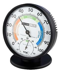 TFA Dostmann Präzisions-Hygrometer Haar-Hygrometer Klimatest schwarz mit Standfuß
