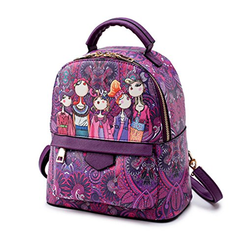 HeHe Damen PU-Leder Rucksack Cool Rucksack für Outdoor Camping Picknick School Sports Lila - groß