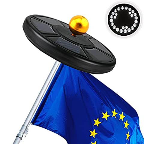 Solar Flag Pole Lights, iBeek Super Bright Waterproof Outdoor Automatic Solar Powered Flagpole(15 to 25 Ft) Lighting Long Lasting Night Light with 26 LED Lights for Tent Camping Garden Lawn Patio (Black)