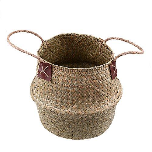 Faltbar Handwerk Weberei Bauch Korb, WCIC Natürlich Seegras Lagerung Veranstalter Pflanze Pot Blume Vase Hanf Seil Hängend Korb(X- Groß 10,63