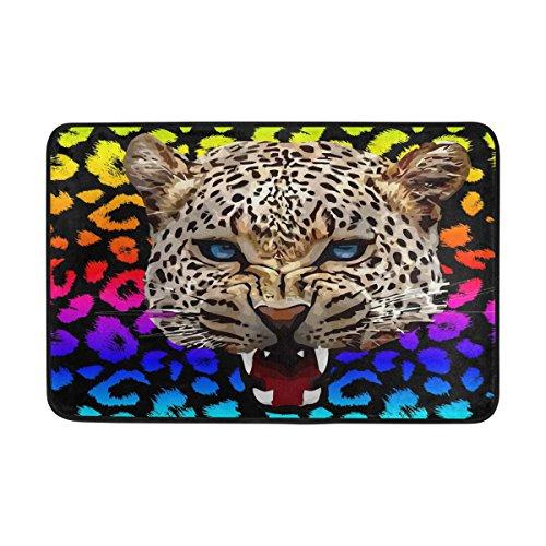 Badteppich, Leopard Animal Print rutschfeste Antischimmel-Einfach Dry Fußmatte Teppich für Dusche Raum Badezimmer Tür Indoor Outdoor 58,4x 38,1cm (Tür-matte Animal-print)