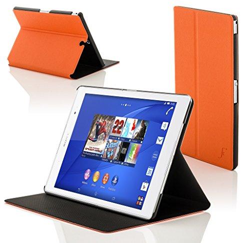 sony xperia z3 tablet Forefront Cases® Sony Xperia Z3 Tablet Compact 8 inch SGP611 Smart Custodia Caso Case Cover Conchiglia - Ultra Sottile con Protezione Dispositivo Completa e funzione Auto Sveglia/Sonno (ARANCIONE)