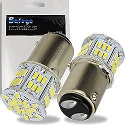 Safego 2x Ampoules 1157 BAY15D LED 3014 54SMD Lampe Pour Inversée de la Sauvegarde Arrière Feu de Freinage Blanche 12V 6500K