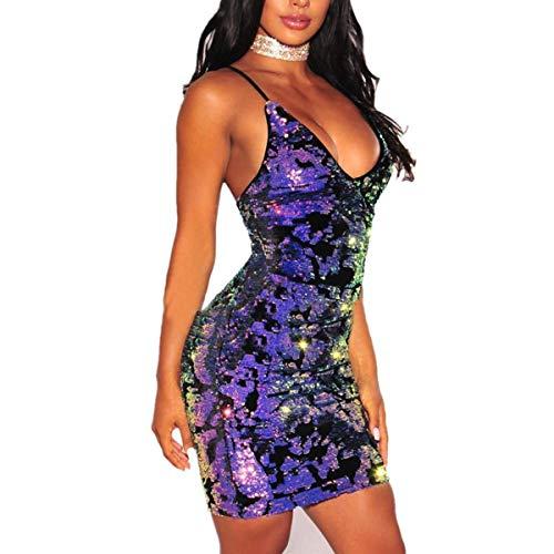 Bademode Ärmellose Spaghettiträger Club Pailletten Clubbing Kleid Strand Minikleid Frauen Sexy Deep V Neck Backless Kleid, Bikinis (Size : S) (Sexy Kleider Clubbing)