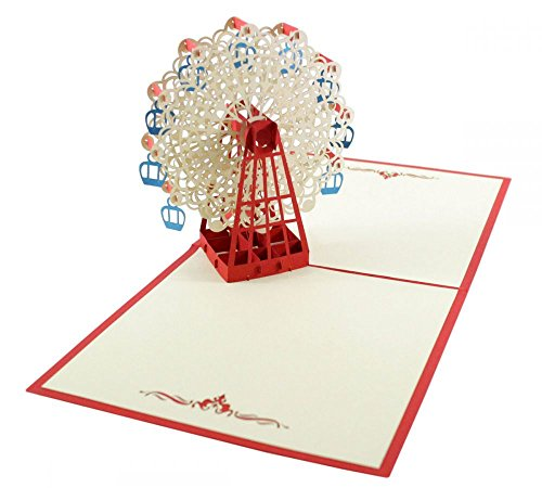 Riesenrad (Rot) als 3D Karte / Pop-Up Karte zum Geburtstag, als Glückwunschkarte oder Grußkarte verschenken -
