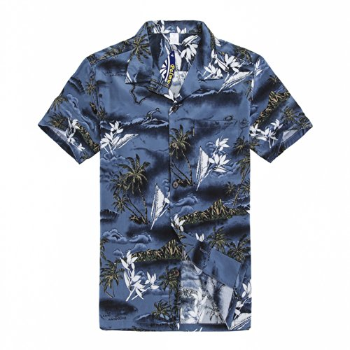Chico-joven-adulto-Hawaiian-Aloha-Luau-camisa-en-el-mapa-azul-y-surfista-Azul-16-XL