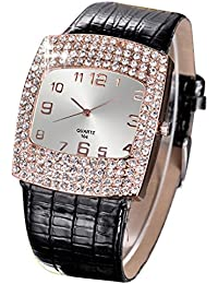 Women's Square Rhinestones Faux Leather Wrist Watch
