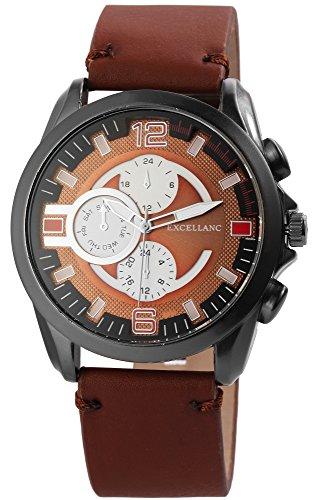 Braun Men's Watch Titanium Chrono Look Metal Look Leather Strap Watch
