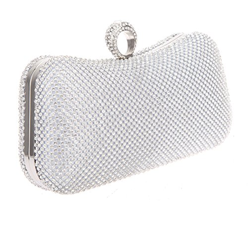 Bonjanvye Knuckle Clutch Bags with Studded Rhinestone Bag for Girls Silver Silver