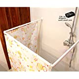 Aurora U L and I Shape Aluminium White Colour Adjustable Corner Shower Curtain Rod