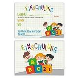 Einladungskarten Einschulung Schulanfang Jungen Mädchen 8 Stück - ABC mit Kindern
