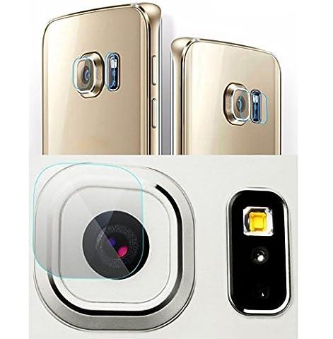 Genieforce® ✔Premium Kamera Objektiv & Blitzlinse HD+ Panzerglas für Samsung Galaxy S6 Edge - Kameralinse Panzerfolie - Sicherheitsglas - 0,2mm Hartglas - 9H Ultra Hart – 2.D Round