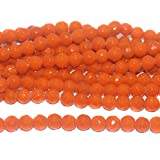 #3: Beadsnfashion Jewellery Making Faceted Glass Round Beads Orange 10 mm, Pack of 1 String of 13 Inch