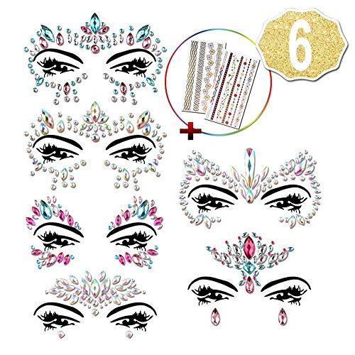 6 Stück face tattoo, Strass Juwelen Face Sticker + 2 Stück Temporary Tattoos für Hen Party Accessories, Festival Ausrüstung by AniSqui