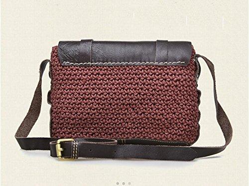 Leder Damentaschen großräumige weibliche Baodan Leder Schulter Handtasche wine red
