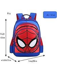 Preisvergleich für XIAODONG Spiderman Kinderrucksack Schwarz/Himmelblau / Königsblau. Spiderman 3D Junior Rucksack,Skyblue-30 * 17...