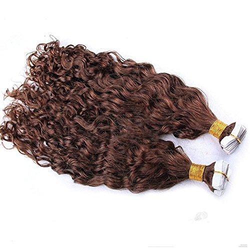 Remeehi Tape in Haarverlängerungen 20 Stück Haut Schussband in Curly Wave unsichtbare menschlichen Hiar Extensions 20 Inch 1# Jet Black -