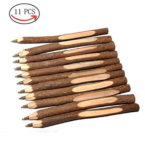 Abcsea 11PCS Penna Legno, Avanzato Creativo Originale Originale Ecologico Ecologico Fatto A Mano Penna A Sfera In Legno A Sfera Penna