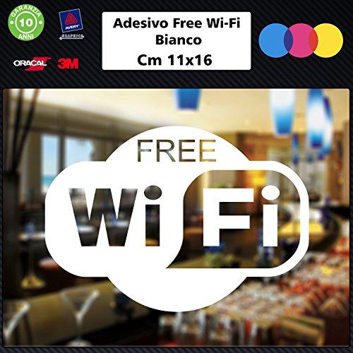 Free Decals ('1Aufkleber (weiß) Free WiFi für Bar, Club, Büros, Schaufenster, Geschäfte, Restaurants, Salon, Stickers, Decal 004)