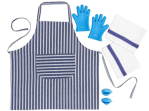 SMARTZ 5-tlg. Küchenschürzen-Set für Damen und Herren in professioneller Qualität geeignet für Küche, Restaurant, Café, BBQ Grill und Schulküchen -