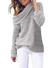 b6ea83f7fe7 Sweatshirt Femme Chemisier Pin Up Chic Pull Femme Pas Cher A La Mode Ample  Pull Tricoté AsyméTrique Col Roulé Sexy LâChe Solide Wrap…