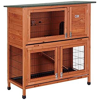BUNNY BUSINESS 2 Tier Rabbit Hutch and Run Guinea Pig House Cage 11