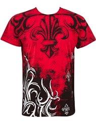Sakkas Fleur de Lys Tree Branches En relief argent métallique Manches courtes Col rond Coton T-Shirt Fashion homme