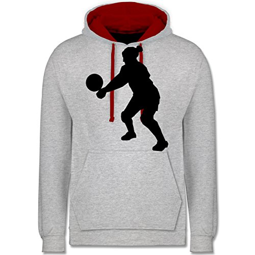 Volleyball - Volleyball - Kontrast Hoodie Grau Meliert/Rot